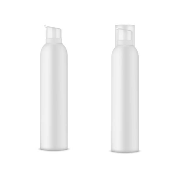 leere vorlage des weißen deo flasche mock-up. aerosol-vektor. - haarsprays stock-grafiken, -clipart, -cartoons und -symbole
