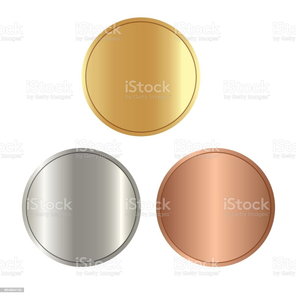 Leere Vorlagen Für Münzen Oder Medaillen Mit Metall Textur Gold ...