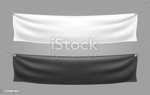 Blank textile banner templates. White and black realistic hanging canvas posters mockups, stretching on ropes banners vector image designs for sale and advertising