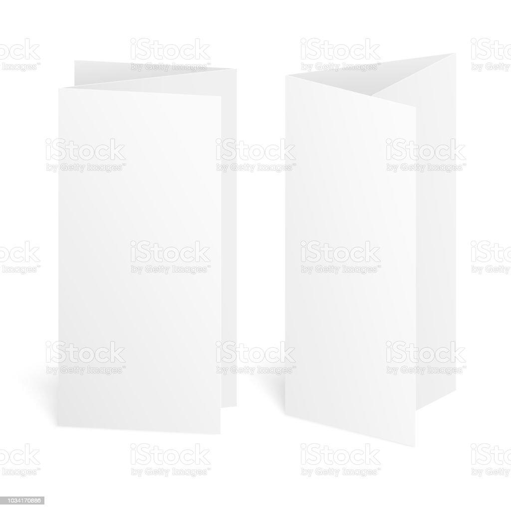Blank three fold paper brochure on white background with soft shadows. Vector blank three fold paper brochure on white background with soft shadows vector - immagini vettoriali stock e altre immagini di affari royalty-free