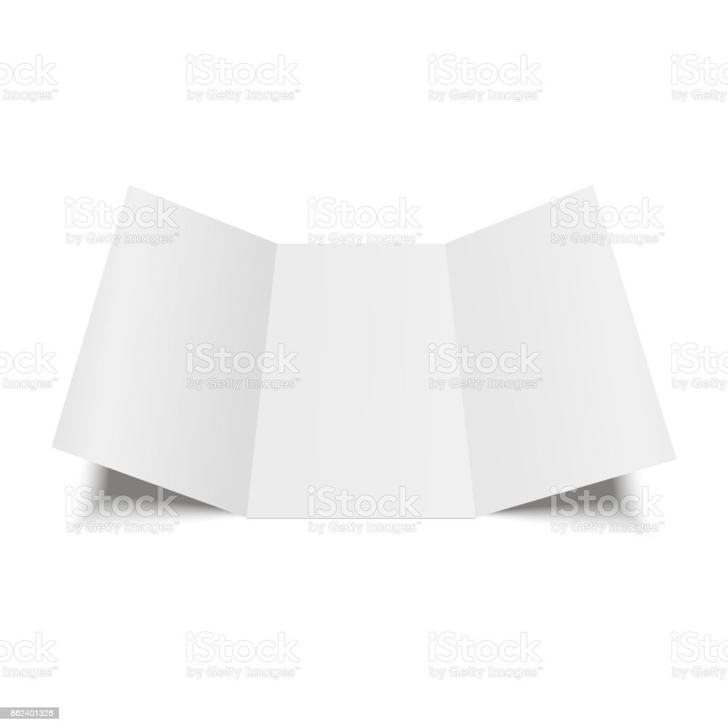 Blank three folded fold paper leaflet, flyer, broadsheet. Vector illustration. vector art illustration