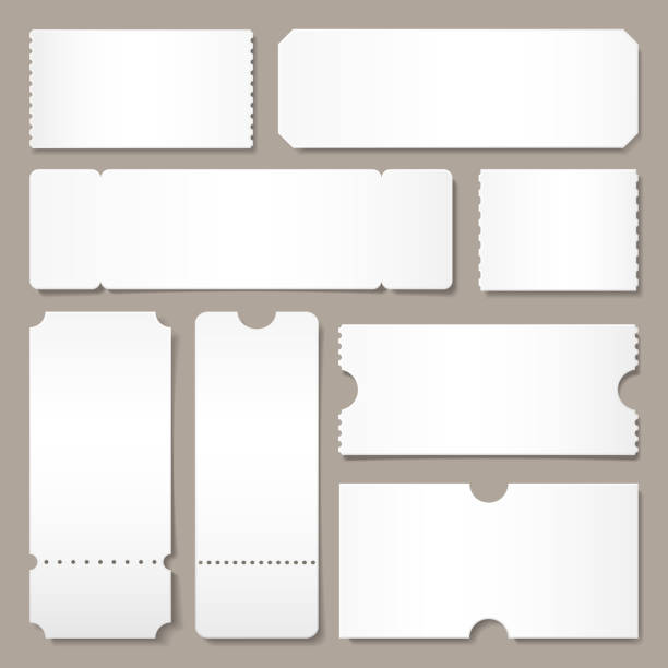 Blank ticket template. Festival concert tickets, white paper coupon card layout and cinema admit one sheet isolated vector mockup Blank ticket template. Festival concert tickets, white paper coupon card layout and cinema admit one sheet. Event, theater or lottery tickets isolated vector symbols mockup coupon stock illustrations
