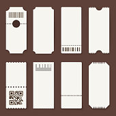 Blank tickets. Concert theater or airplane empty paper tickets, movie admit one coupons with barcode. Lottery isolated vector 3d mockups