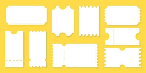stockillustraties, clipart, cartoons en iconen met blanco tickets ontwerp voor vliegtuig, trein, bus, bioscoop, feest, circus, festival of concert. lege ticket sjabloon. coupon mockup, lege lege tickets. - ticket
