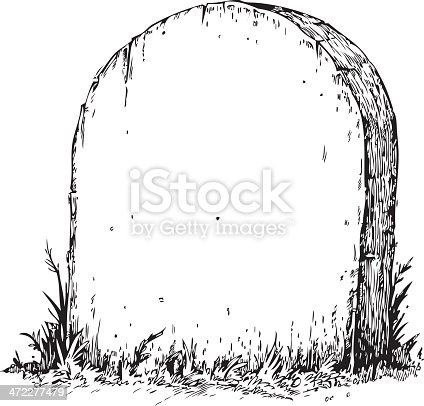 Illustration of tombstone - left blank for your message.