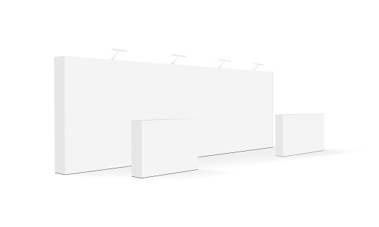 Blank trade show booth or event display stand with tables isolated