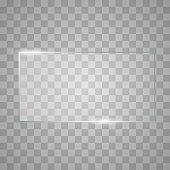 Blank, transparent vector glass plate. Texture with highlights and glow. Vector square glass frame. Clear glass showcase. Realistic window mockup.
