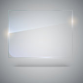 Blank, transparent vector glass plate. Vector template, mock-up banner with copy-space. Photo realistic texture with highlights and glow on the background. See through the plastic, 3D illustration