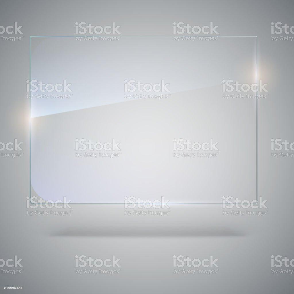 Placa de cristal en blanco, transparente de vector. Plantilla de Vector, bandera de la maqueta con espacio de copia. Foto textura realista con toques de luz y resplandor en el fondo. Ver a través de la ilustración plástica, 3D - ilustración de arte vectorial
