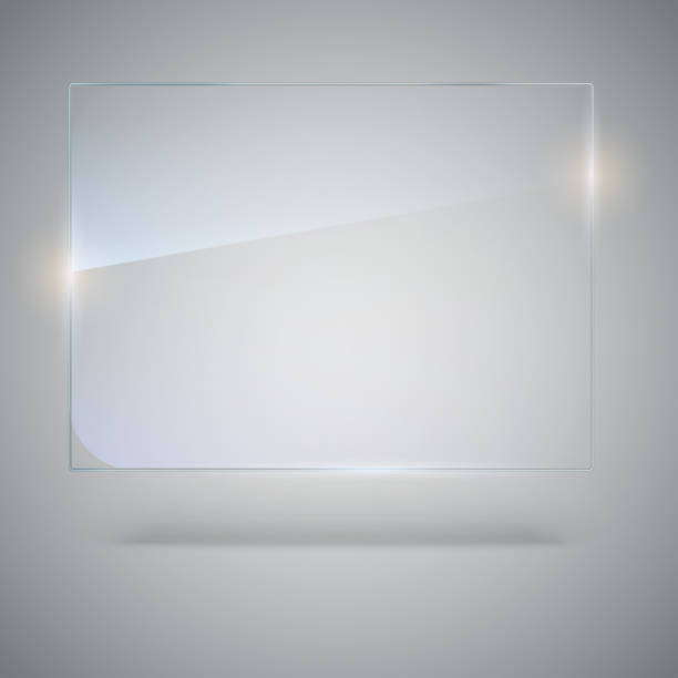 Blank, transparent vector glass plate. Vector template, mock-up banner with copy-space. Photo realistic texture with highlights and glow on the background. See through the plastic, 3D illustration vector art illustration