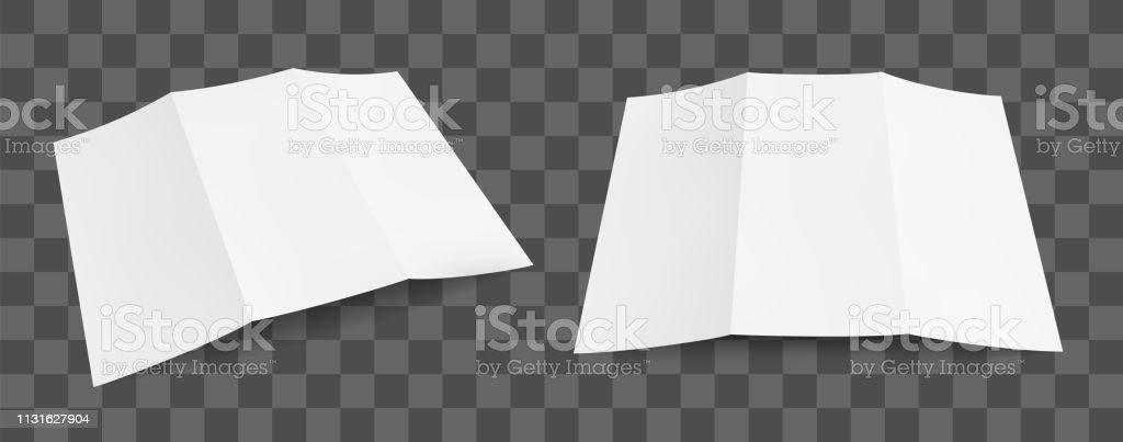 Blank tri fold paper brochure mockup. Flyer design template on...