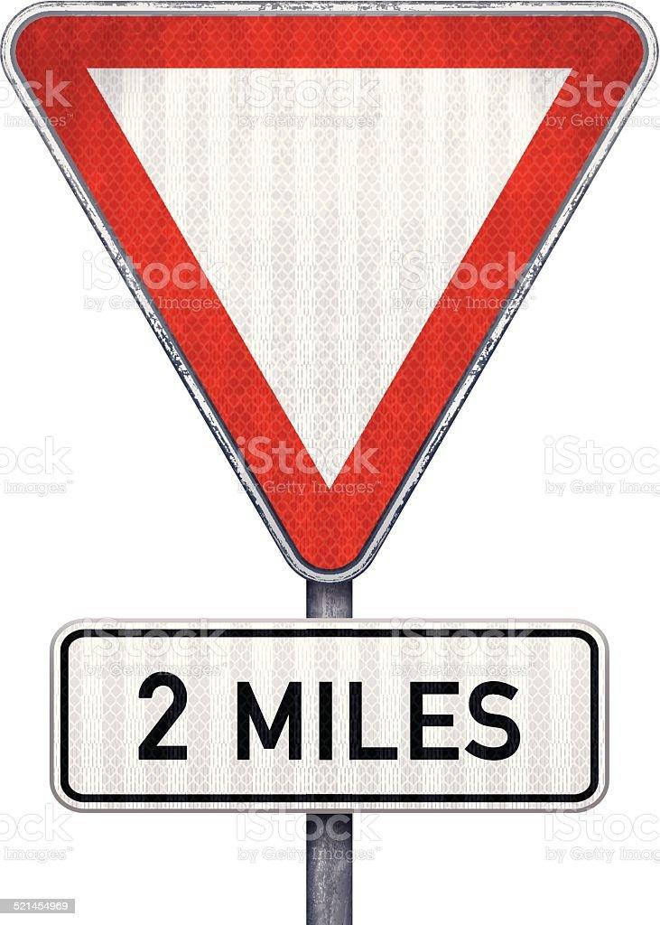 Blank triangular road sign with 2 miles ahead to hazard vector art illustration