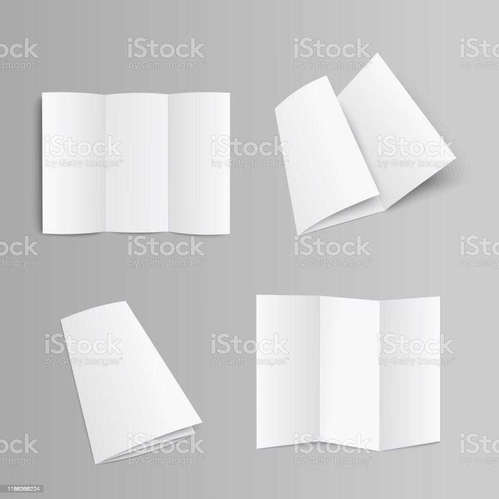 Blank trifold brochure, booklet or leaflet realistic mockup vector illustration. - Grafika wektorowa royalty-free (Biały)