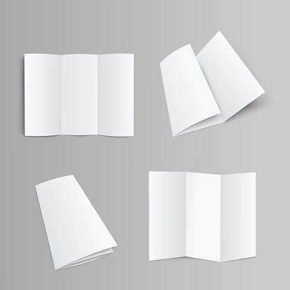 Blank Trifold Brochure Booklet Or Leaflet Realistic Mockup Vector Illustration - Stockowe grafiki wektorowe i więcej obrazów Biały