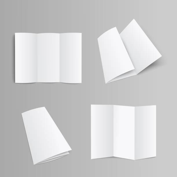 blank trifold brochure, booklet or leaflet realistic mockup vector illustration. - składany stan stock illustrations