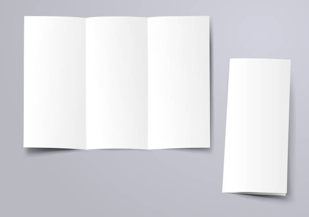 blank trifold brochure blank trifold brochure mockup foldable stock illustrations
