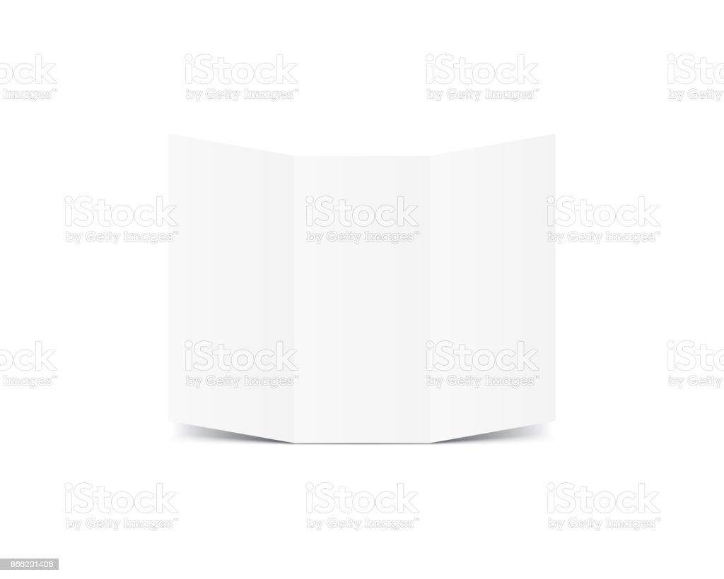 Blank Trifold Paper Leaflet mockup vector on white background. Mockup concept vector art illustration