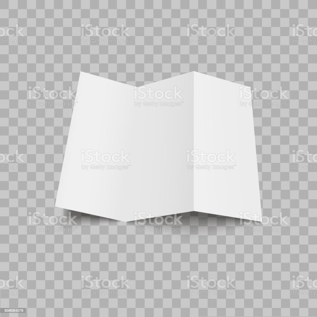 blank trifold paper leaflet on transparent background mock up