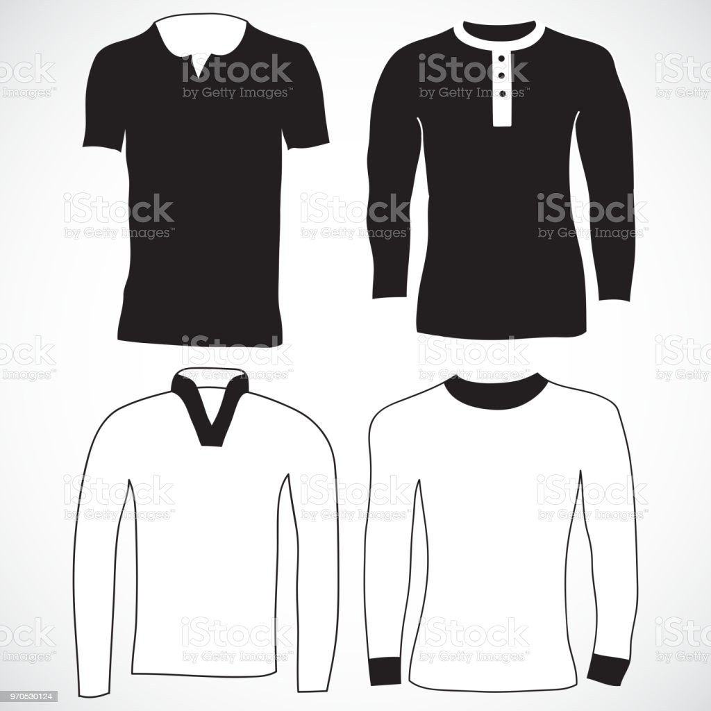 Blank Tshirt And Long Sleeve Template Front And Back Stock Vector ...