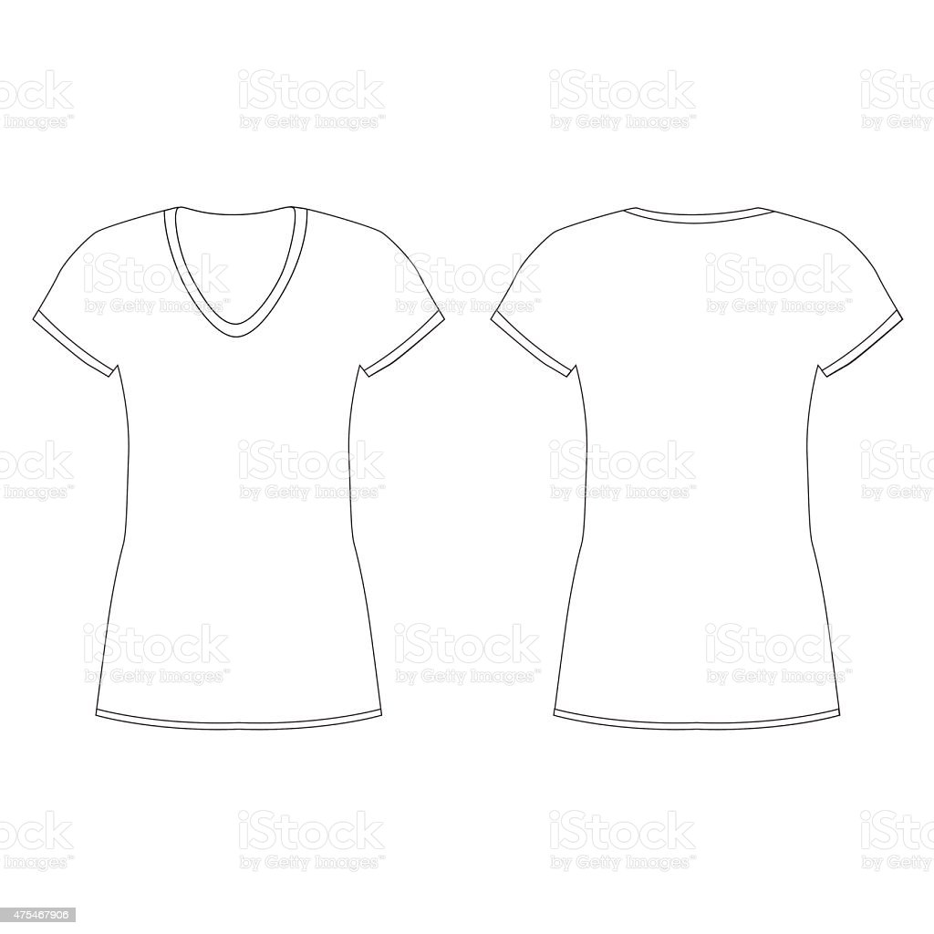 Blank Tshirt Template Front And Back Vector Stock Vector