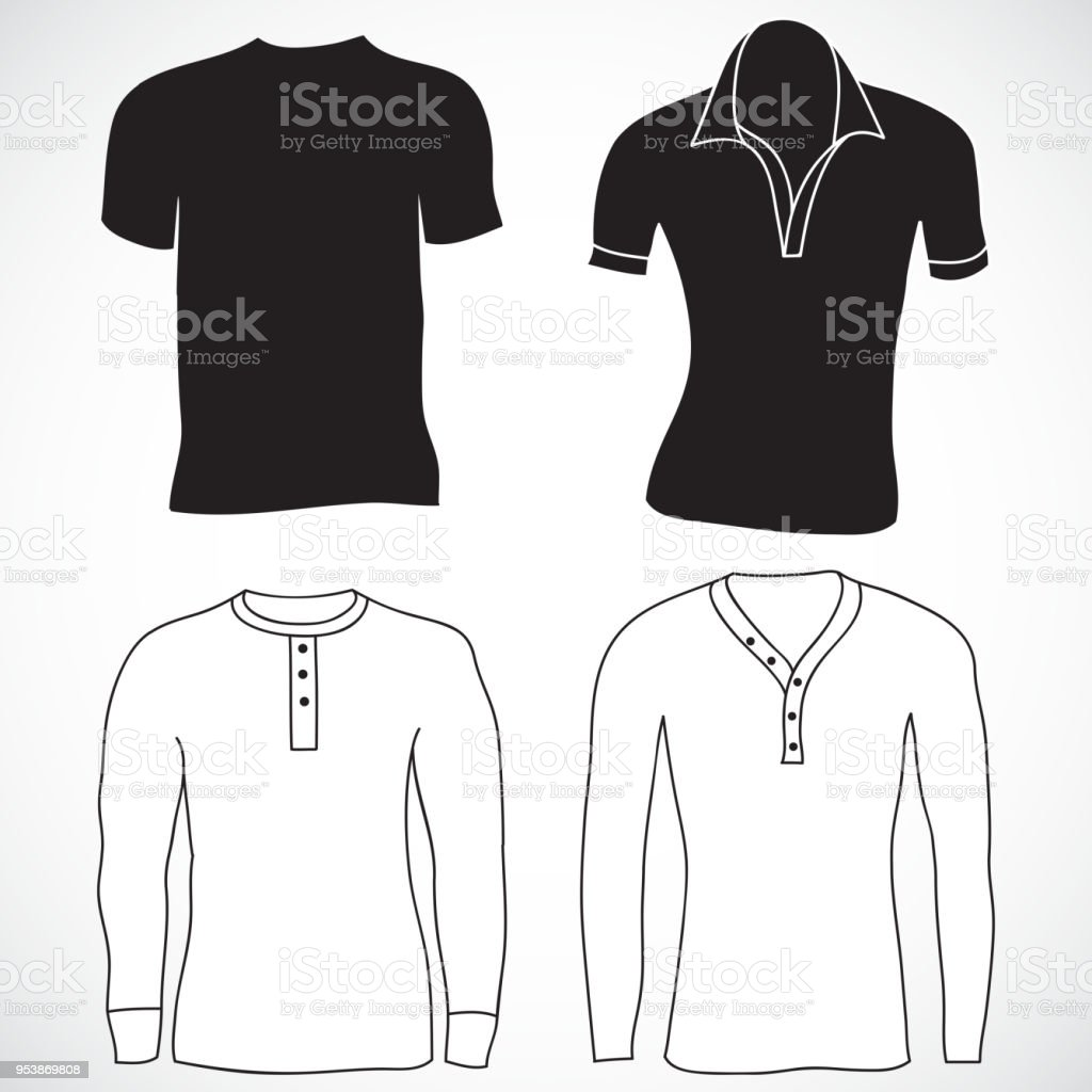 Blank T Shirt Template Long And Short Sleeve Front Back Vector