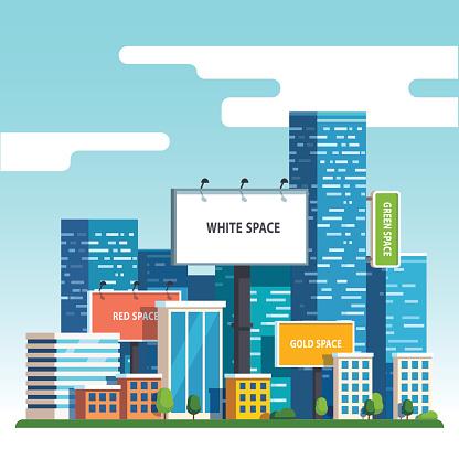Blank urban billboards over city skyscrapers