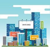 istock Blank urban billboards over city skyscrapers 628561882