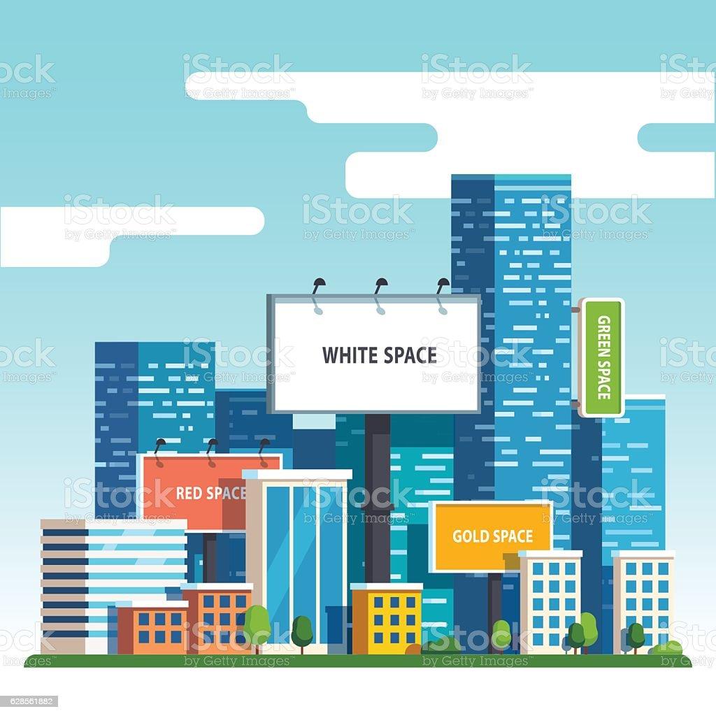 Blank urban billboards over city skyscrapers vector art illustration
