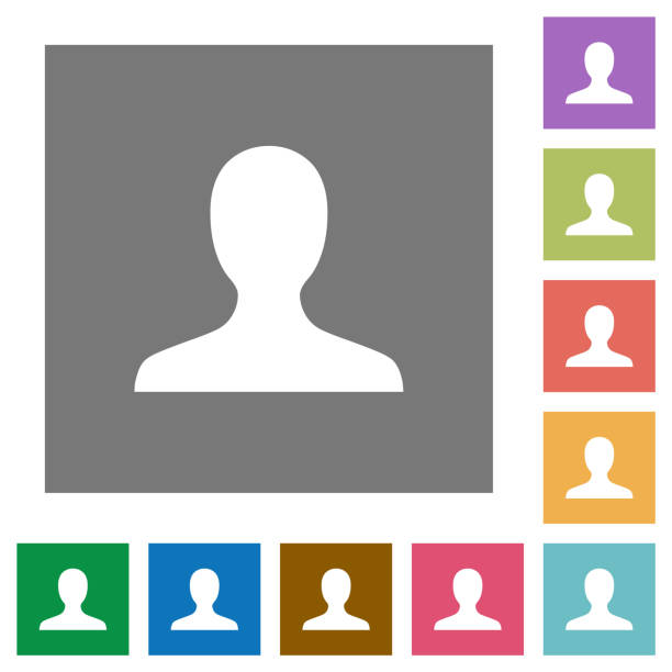 Blank user avatar square flat icons Blank user avatar flat icons on simple color square backgrounds unrecognizable person stock illustrations