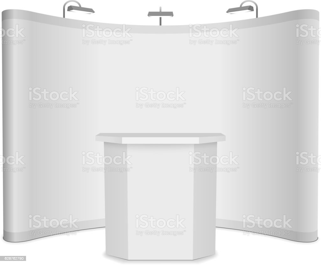 Blank vector exhibition stand with banner and table on white vector art illustration