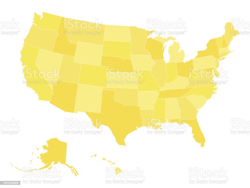 Blank Vector Map Of Usa In Four Shades Of Blue Stock ...