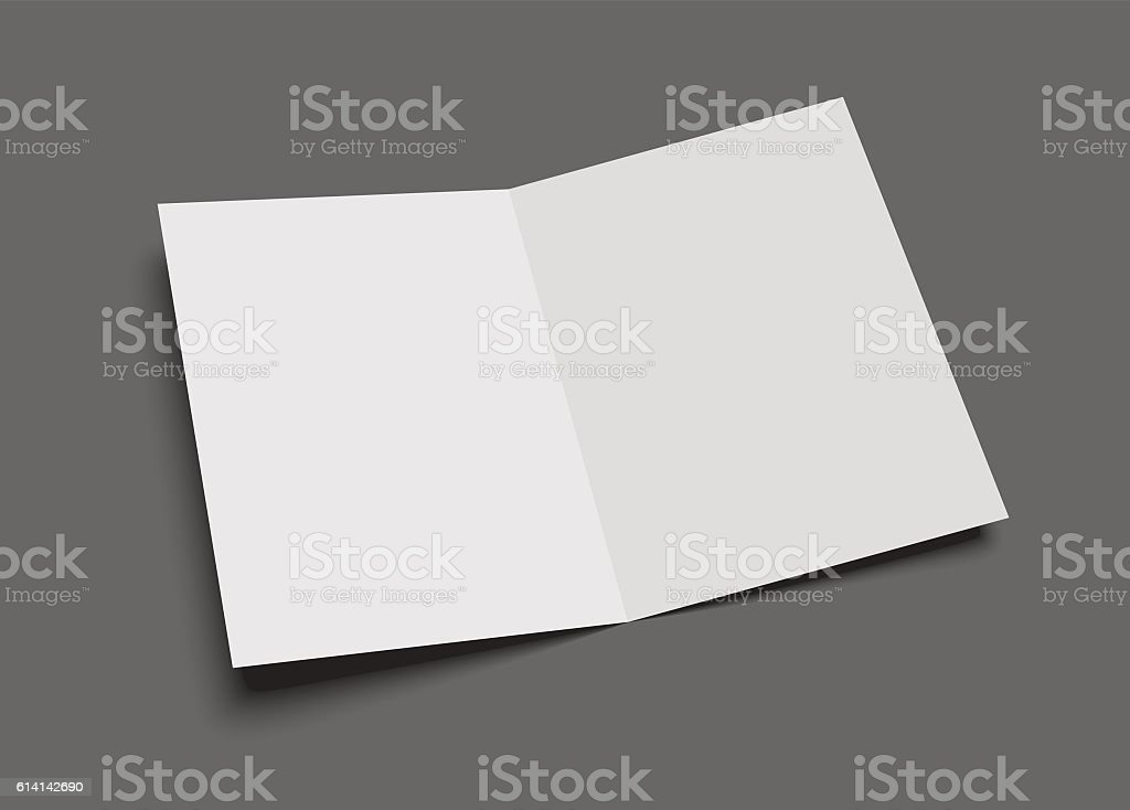 Blank vector two-leaf greeting card or brochure on gray. vector art illustration