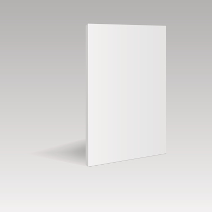 Blank vertical book template  in perspective view. Vector illustration.
