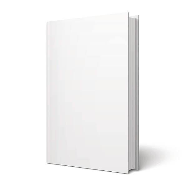 Blank vertical book template. Blank vertical book cover template with pages in front side standing on white surface  Perspective view. Vector illustration. book clipart stock illustrations