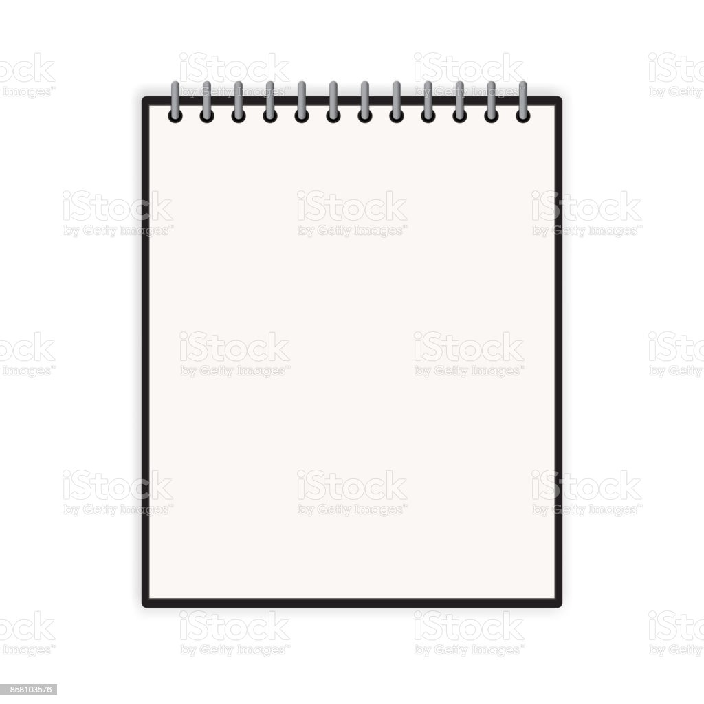 Blank Vertical Notebook Cover Template With Pages In Front Side