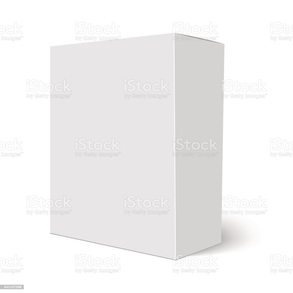 Blank vertical paper box template standing on white background. Vector illustration vector art illustration