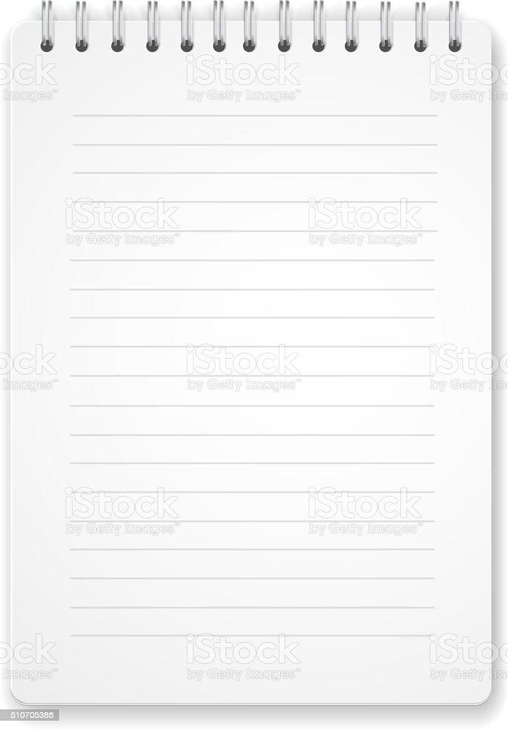 blank vertical spiral notebook on white background vector