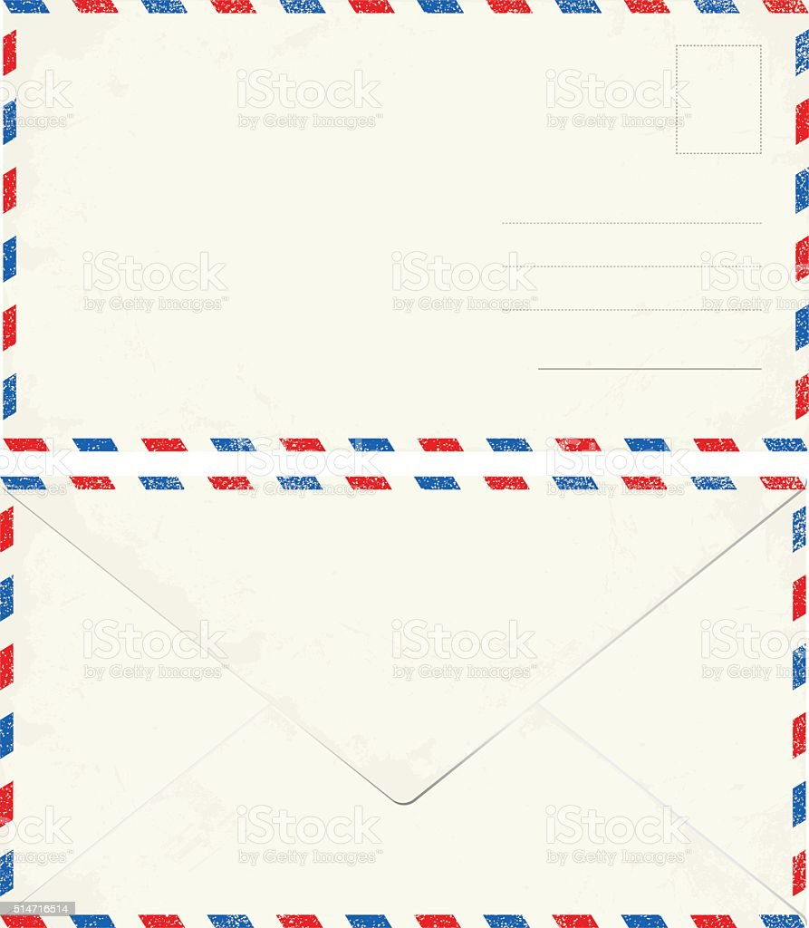 Blank vintage air mail envelope isolated in white vector art illustration
