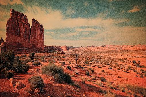 Blank vintage postcard. Arches National Park. American Southwest.