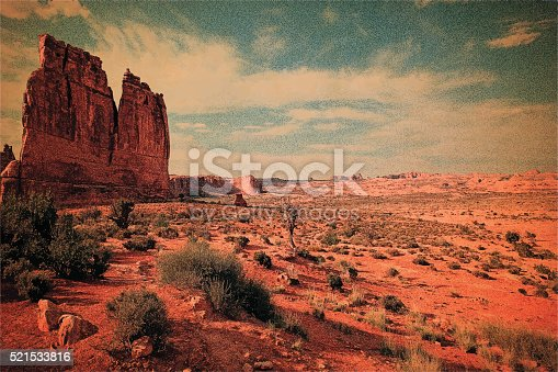 Blank vintage postcard. Arches National Park. American Southwest.