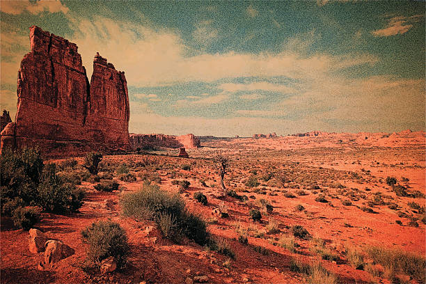 blank vintage postcard - rock formations stock illustrations