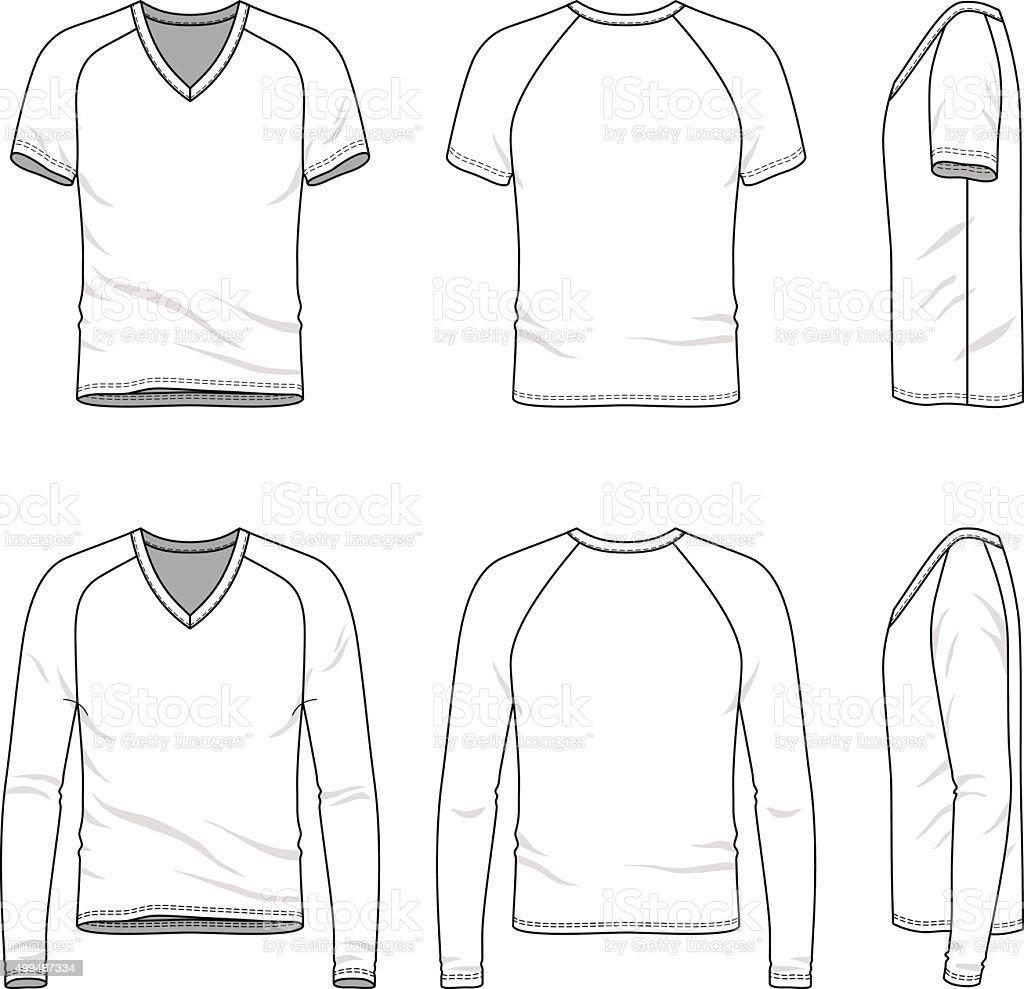 Blank v-neck t-shirt and tee. vector art illustration