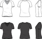 Women's clothing set in white and black colors. Front, back and side views of blank v-neck t-shirt with raglan sleeve. Casual style. Vector templates for your fashion design. Isolated on white.