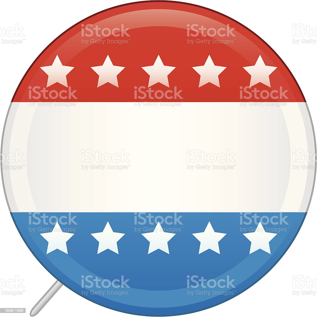 Blank vote pin in red, white, and blue decorated with stars royalty-free stock vector art