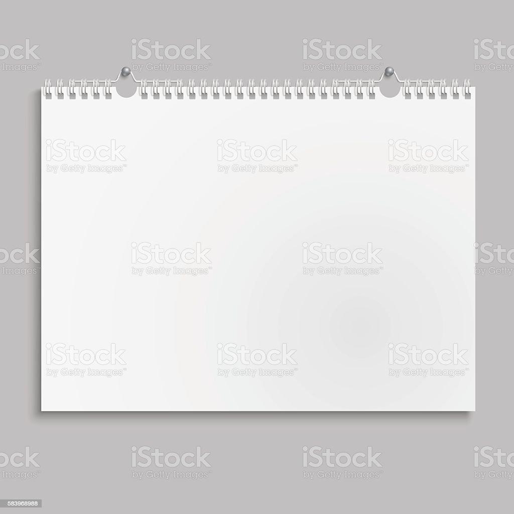 Blank wall calendar with spring. vector art illustration