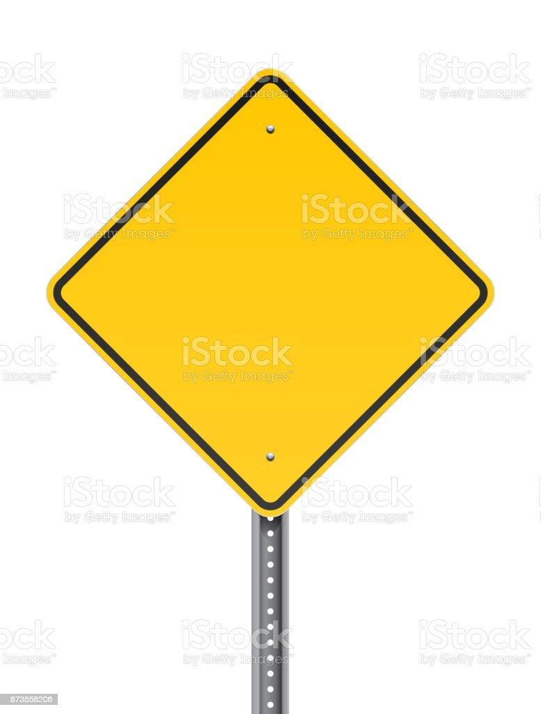 Blank warning road sign vector art illustration