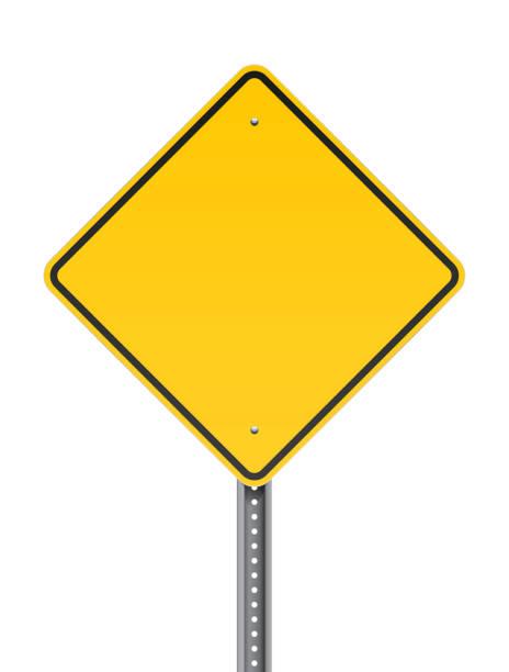 Blank warning road sign vector art illustration