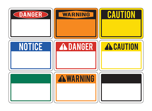 Blank warning signs. Set of warning signs about the dangers. Danger. Vector illustration.