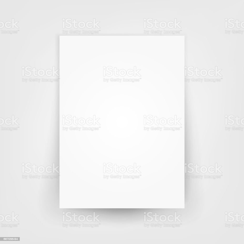 Blank white 3d Paper Canvas Vector. Empty Paper Sheet Illustration With Shadow