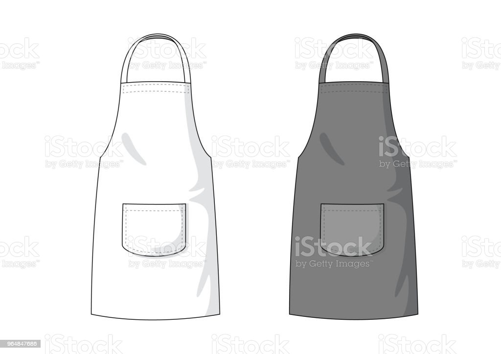 Blank white and black Apron template. vector art illustration